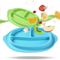 Baby Feeding Plate Children 100% Silicone Dishes Bowl With Suction Kids 4 Color Feeding Food Separate Pratos Tray Dishes Toddler