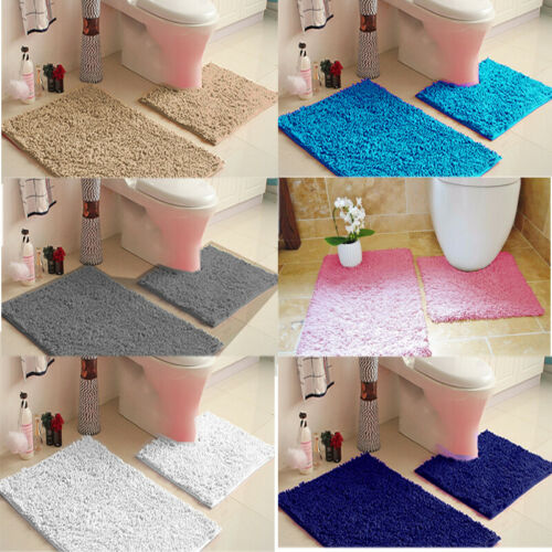 New 2 Piece Tumble Twist Bath Mat Pedestal Mat Non Slip 2 Piece Bathroom Toilet Set