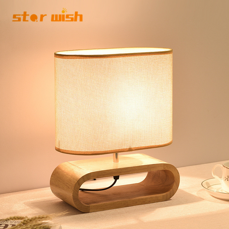 Nordic wood base table lamp cloth lampshade table lights for living room bedroom bedside desk lamp reading lights fixture