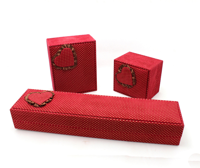 High Quality Box For Jewelry Free Shipping Wholesale 10pcs/lot Rose Red Necklace Pendant Ring Earring Gift Packaging Boxes