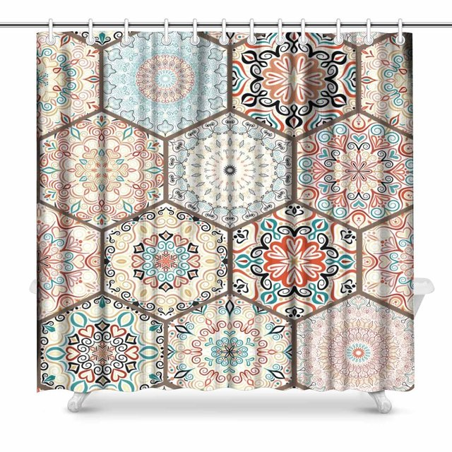 Aplysia Luxury Oriental Tile Seamless Colorful Floral Patchwork Background Mandala Boho Chic Shower Curtain For Bathroom