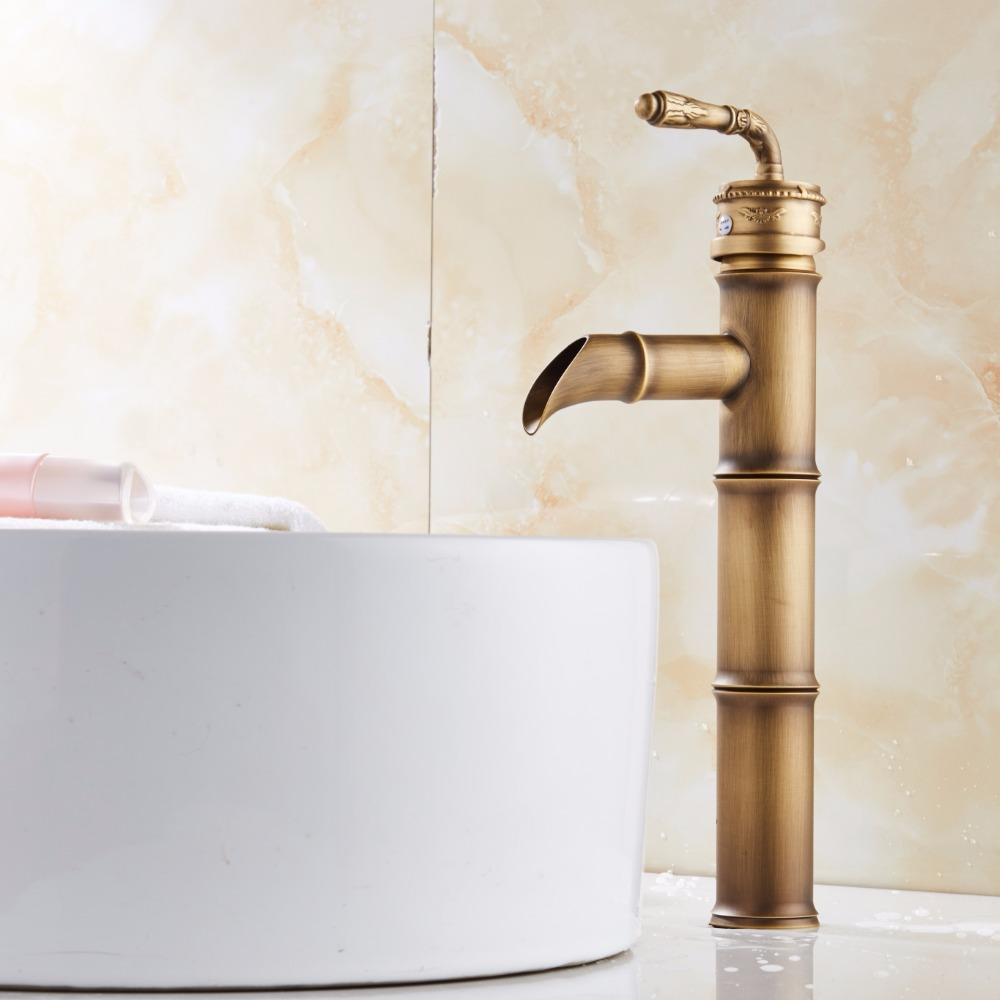 Deck Mounted Single Handle bamboo style Bathroom Sink Mixer Faucet ...