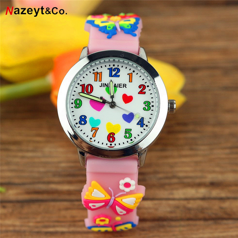 Free Shipping 3D Children Quartz Watch Little Boys Girls Lover Color Heart Dial Silicone Watch Luminous Hands Gift Watch For Kid