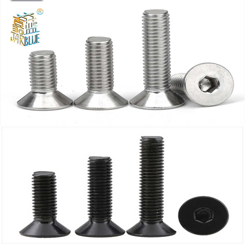 50 /10pcs M2 M2.5 M3 M4 M5 M6 M8 Din7991 Stainless Steel 304 Or Black Grade 10.9 Hexagon Hex Socket Flat Head Countersunk Screw