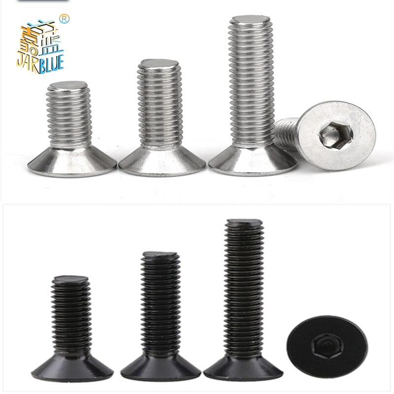 5-50 pces allen cabeça chave din7991 m2 m2.5 m3 m4 m5 m6 aço inoxidável 304 ou preto sextavar soquete plana parafuso cabeça escareada