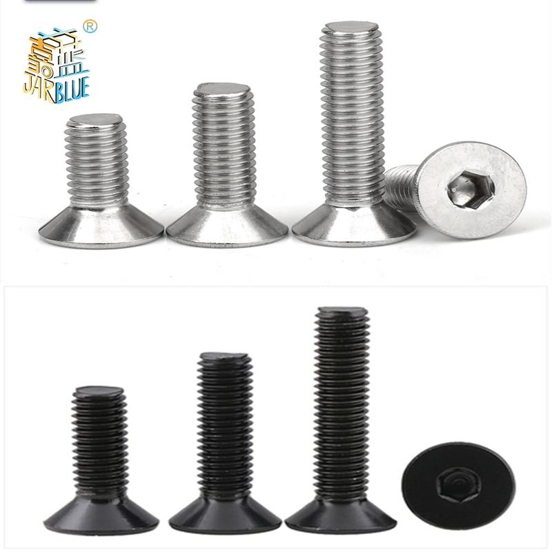 Cabeça chave allen de 5-50 peças, m2 m2.5 m3 m4 m5 m6 aço inoxidável 304 ou preto hex parafuso plano da cabeça escareada da soquete