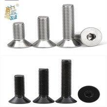 Hexágono de aço inoxidável 304 ou preto, 50 /10 peças m2 m2.5 m3 m4 m5 m6 m8 din7991 grau 10.9 tomada hex cabeça plana parafuso escareado
