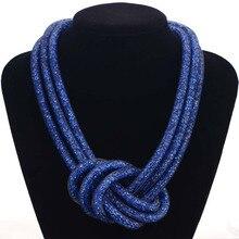 La más nueva Manera Hecha A Mano Rhinestone Collares WithTtiny Resina Cristal Collar Para Los Regalos de Las Mujeres Nudo Grande de Cristal Collares N1428