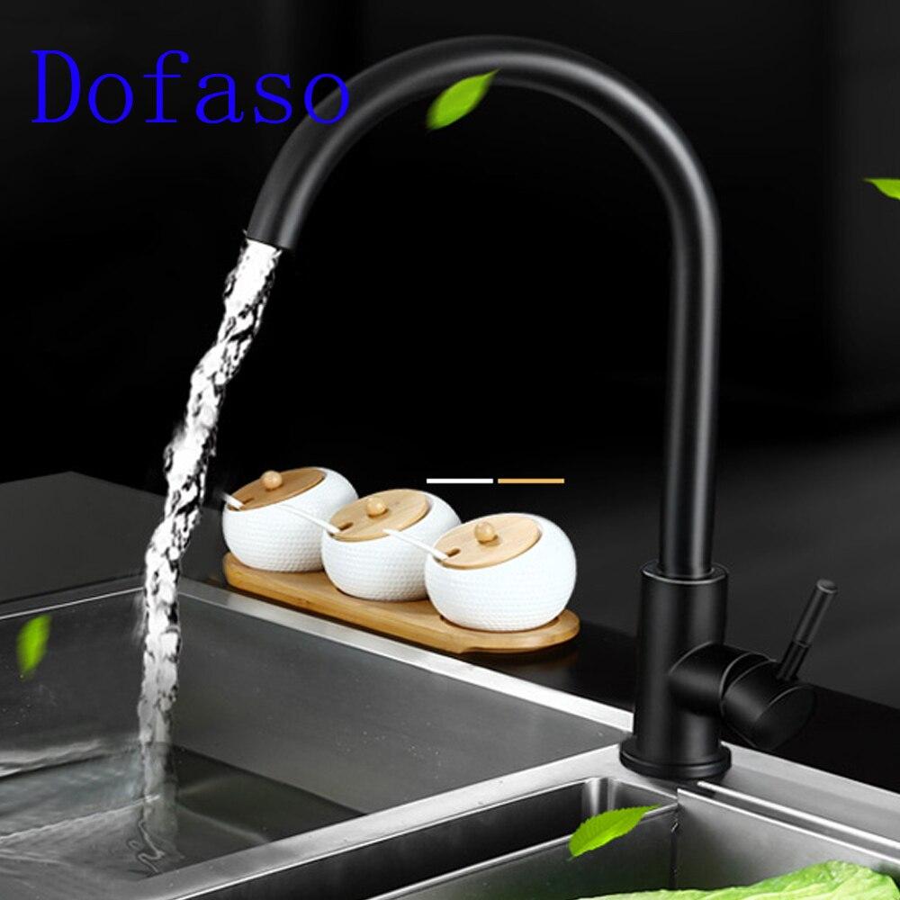 Dofaso Black Brass Kitchen Faucet 360 Degree Swivel Single Handle ...