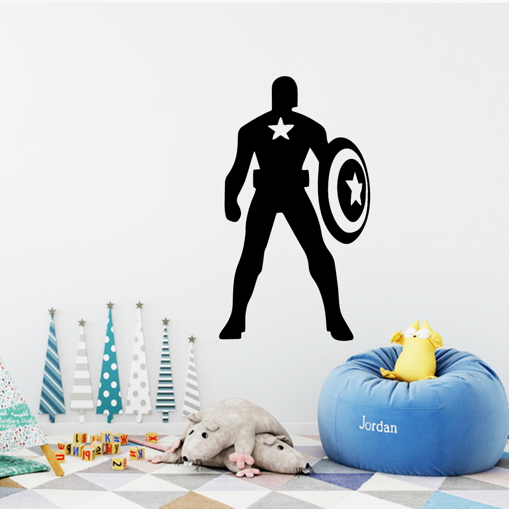 Marvelous Us 2 24 14 Off Modern Captain America Vinyl Decals Wall Stickers For Bedroom Decoration Decoration Accessories Murals In Wall Stickers From Home Pdpeps Interior Chair Design Pdpepsorg