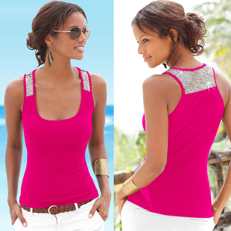 Summer 2019 Sexy Camisole Low-cut Basic T-shirt   Tank     Top   Solid Color Sleeveless Spliced Slim Ladies Thin Women's Vest Beach   Tops