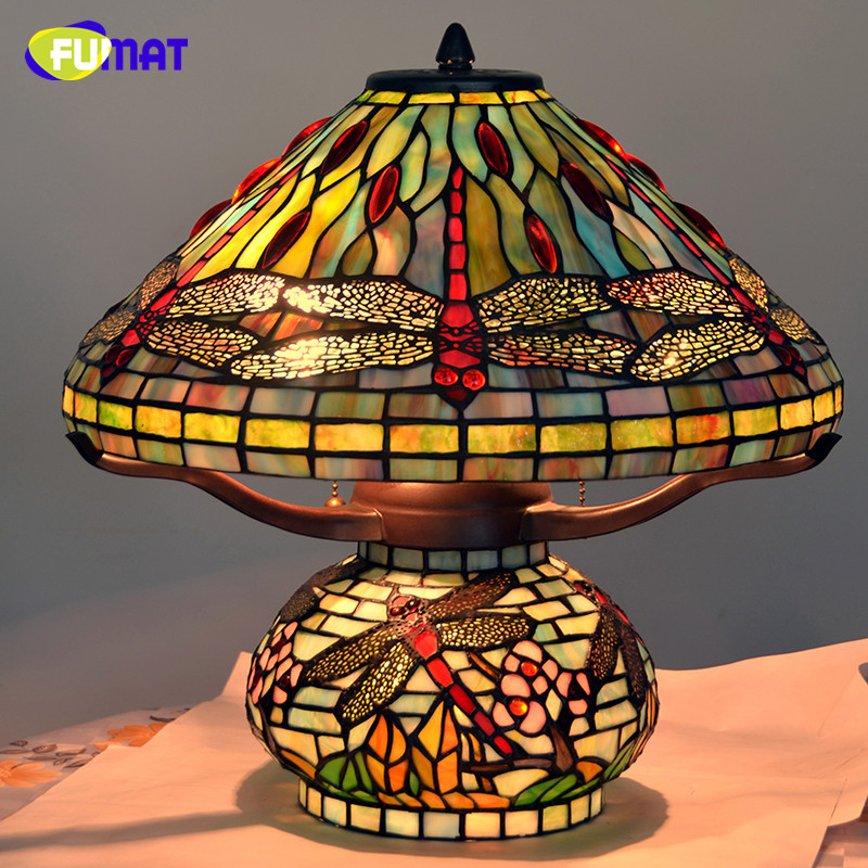 FUMAT Led Table Lamp Stained Glass Dragonfly Led Light