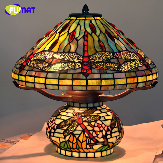 FUMAT led Table Lamp Stained Glass Dragonfly led light Living Room Bedside table lamps Copper Table Lights Indoor Lighting
