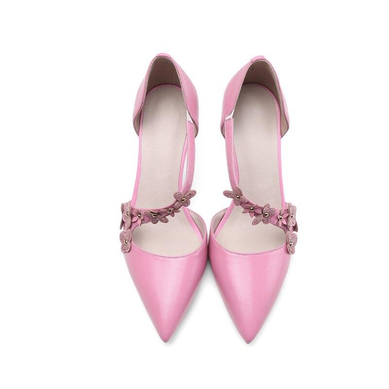 Femmes Hauts Mince Mouton 40 Doux Talons Véritable En De Size34 Fleur Grand Cuir rose Dames Doratasia Partie Courroie Boucle Beige Chaussures Peau Pompes q6naUF8w