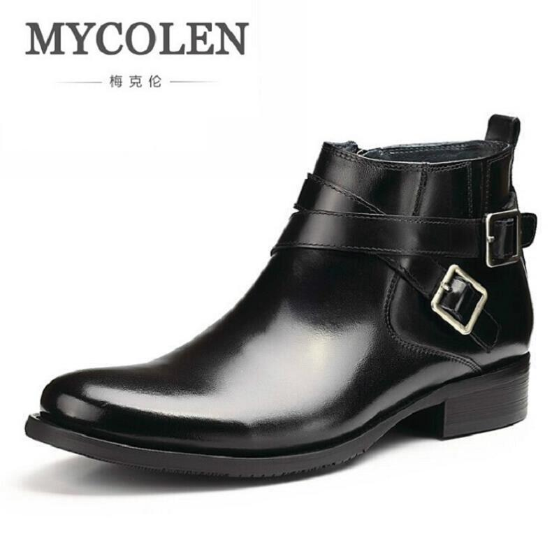 MYCOLEN British Retro Boots Men Winter Genuine Leather Brown Boots 2017 Casual Fashion Comfortable Chelsea Boots Winter botas maden brand 2017 ner fashion brown men boots comfortable high quality leather boots british style heighten tooling boots