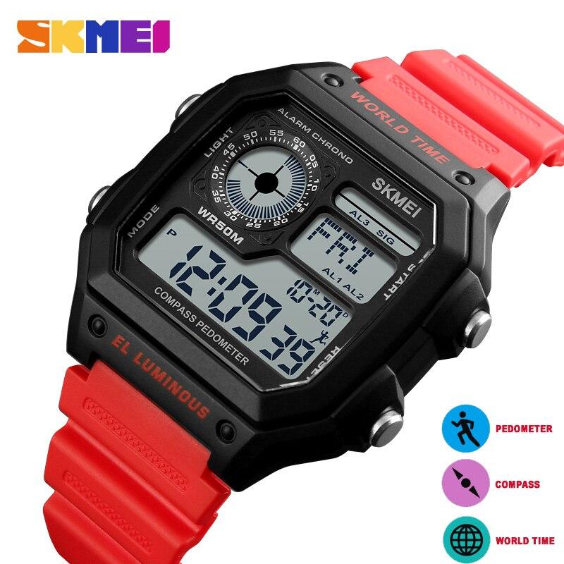SKMEI 1373 LED Digital Watch Men Waterproof Calorie Pedometer Compass Multifunction Fashion Outdoor Sport Clock Men's Wristwatch цена и фото