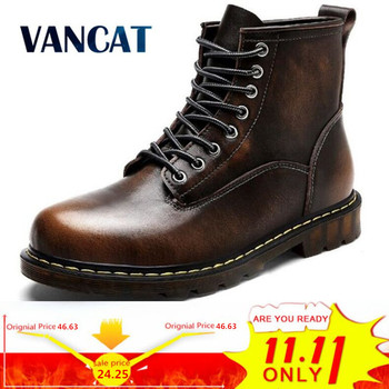 Vancat High Quality Genuine leather Autumn Men Boots Winter Waterproof Ankle Boots  Martin Boots Outdoor Working Boots Men Shoes