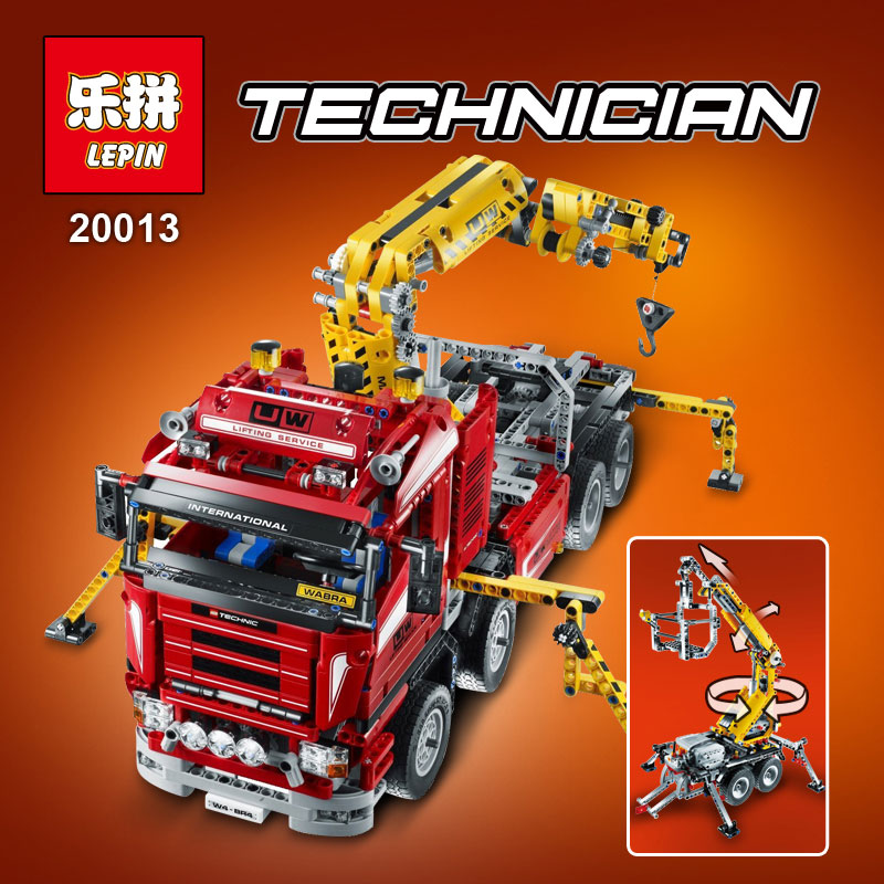Lepin 20013 1877pcs Technic Ultimate Mechanical Series Crane Truck Set Building Blocks Bricks Toys Compatible legoed 8258 lepin 22001 pirate ship imperial warships model building block briks toys gift 1717pcs compatible legoed 10210