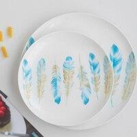 OUSSIRRO estilo Japonês top porcelana porcelana de ossos placa ocidental prato de jantar redonda bandeja de legumes e salada de frutas de cerâmica tigela