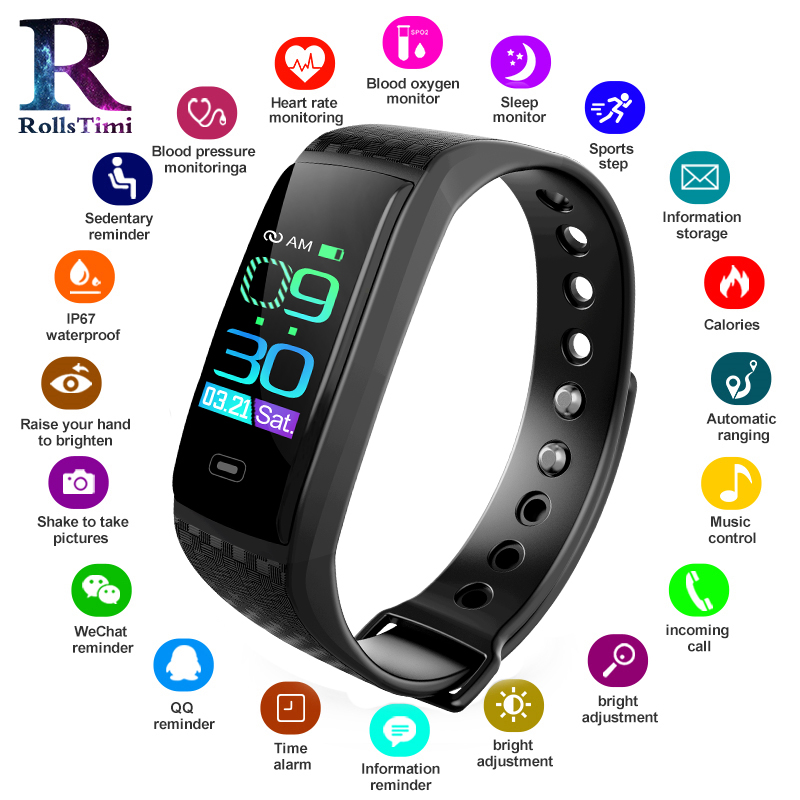 Rolls Timi Smart Watch Sports Fitness Activity Heart Rate Tracker Blood Pressure wristband IP67 Waterproof band Pedometer for IORolls Timi Smart Watch Sports Fitness Activity Heart Rate Tracker Blood Pressure wristband IP67 Waterproof band Pedometer for IO