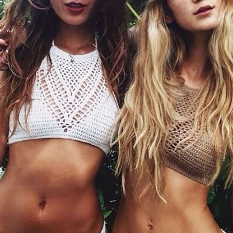 Womens Summer Hollow Out Crochet Crop Top Halter Neck Boho Ethnic Bikini Bra Solid Color Bandage Backless Sleeveless Knitted Cov in Camisoles Tanks from Underwear Sleepwears
