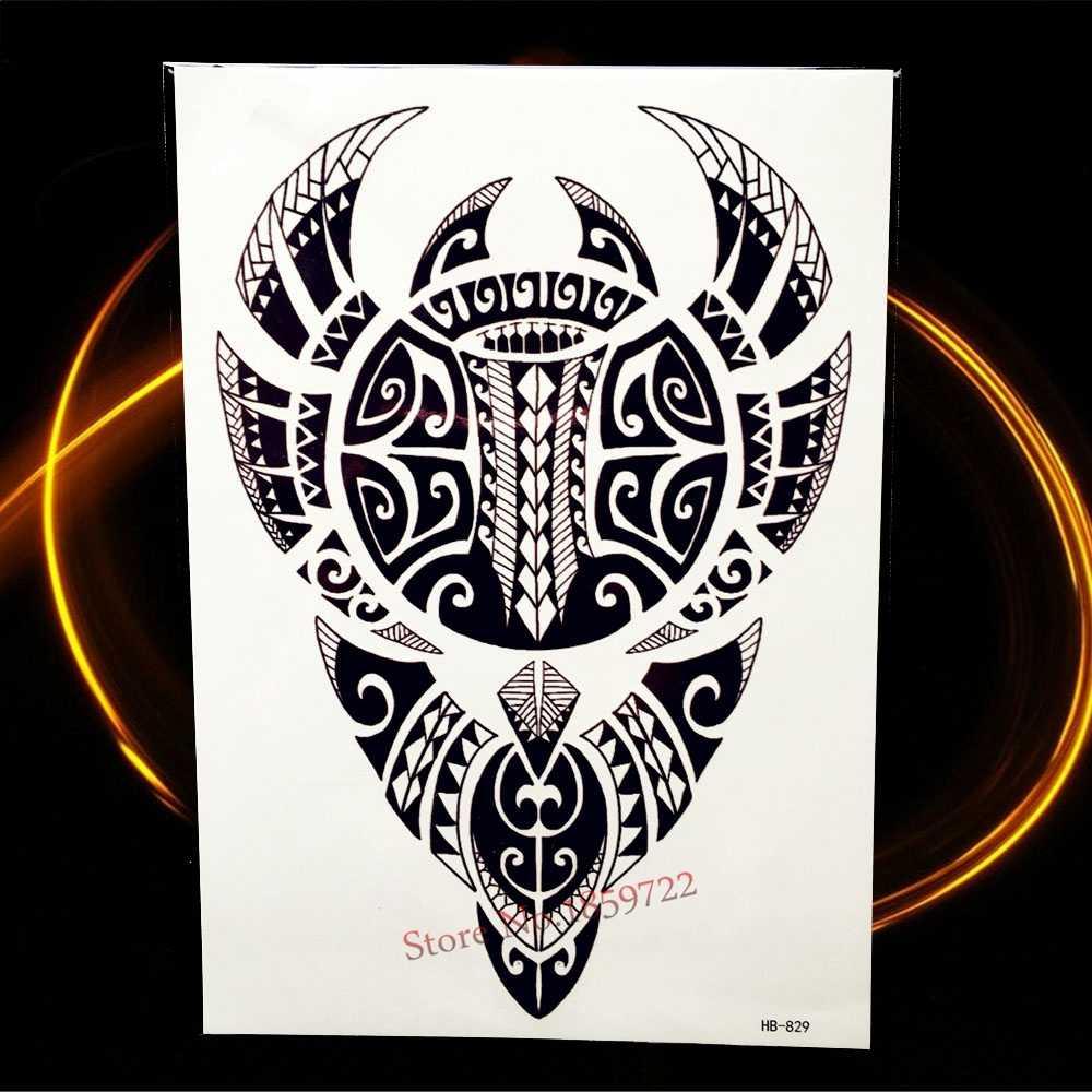 Новый индийский черный тотем временные татуировки стикер для мужской боди-арт рукав на руку лезвие тату наклейка Женская поддельная вспышка Водонепроницаемая татуировка