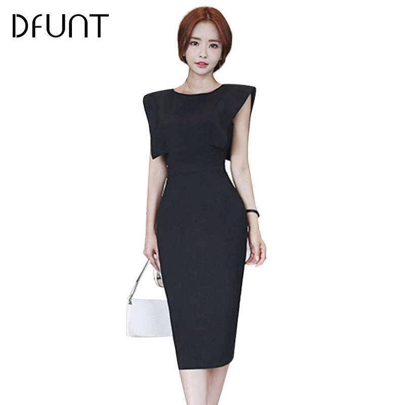 DFUNT Solid Sleeveless Cut Out Backless Party Dresses For Women 3 Kind Color Broadcloth Knee-Length Dress Slim Out Femme Vestido
