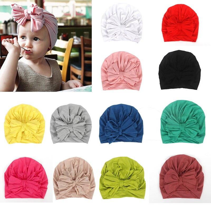 Moda flor bebé niñas sombrero recién nacido elástico bebé turbante sombreros para niñas algodón infantil gorro niños foto accesorios caliente