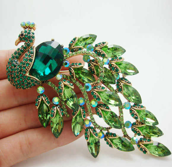 TTjewelry Gorgeous Peacock Feathers Rhinestone Crystal Brooch Pin