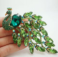 New Arrival Gorgeous Bird Peacock Green Crystal Rhinestone Art Nouveau Gold-plated Brooch Pin