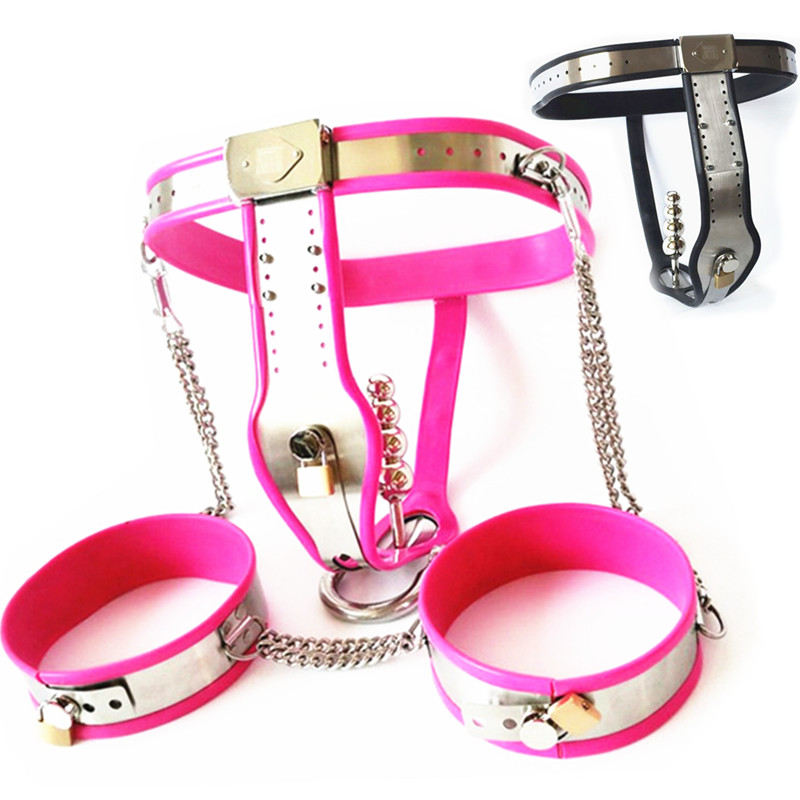 Stainless Steel Chastity Belts+Thigh Rings+Anal Plug Female Chastity Underpants Bondage Devices Sex Toys for Women G7 5 46B