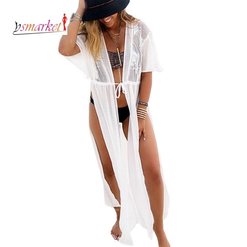 Trendiga vita badkläder Bikini Beach Cover Up Pareo Beach Kaftan - Sportkläder och accessoarer