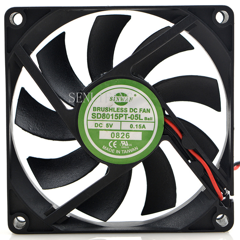 Free Shipping For New Taiwan SINWAN SD8015PT-05L 8015 5V 0.15A 8CM 2-wire Cooling Fan
