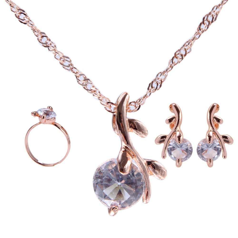 Kualitas Tinggi Elegan Warna Emas Austria Kristal Liontin Kalung Earrings Bridal Perhiasan Set untuk Wanita