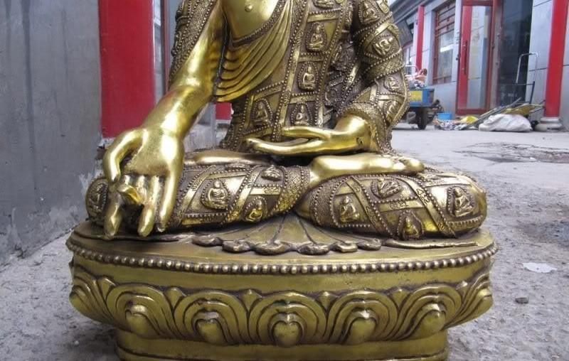 30 Tibet Folk temple Bronze Copper Gild Sakyamuni Tathagata Ru Lai Buddha Statue