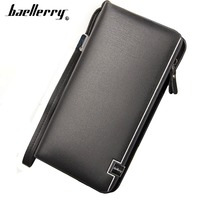 PU Leather Long Design Hand Bag Square Style Zipper High Capacity Hand Strap Men Wallet Luxurious