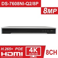 In Stock HIK 8CH NVR DS 7608NI Q2/8P 8 Channel 8 Independent POE NVRs for POE Camera 8MP Max 2 SATA Network Video Recorder