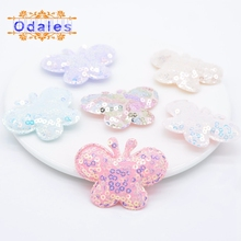12Pcs Kawaii Sequin Butterfly Padded Appliques DIY Crafts Headwear Accessories/Baby Sock Sew on Flatback Scrapbooking Stickers