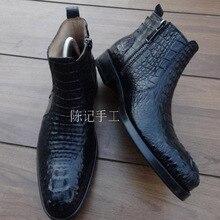 Sipriks/черные ботинки на молнии из крокодиловой кожи; ковбойские мужские Ботильоны из крокодиловой кожи; итальянская прошитая обувь