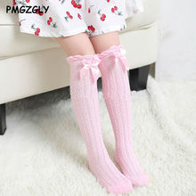 Breathable Lovely Bow tie Thin Section Socks For Fashion Baby Girls Child Summer new design girls children over Knee High Socks