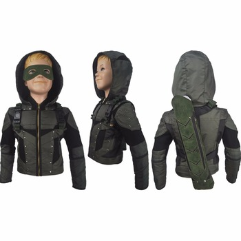Kids boys Arrow Season 6 Oliver Queen cosplay halloween costume jacket coat superhero outfit xmas gift anime comic-con