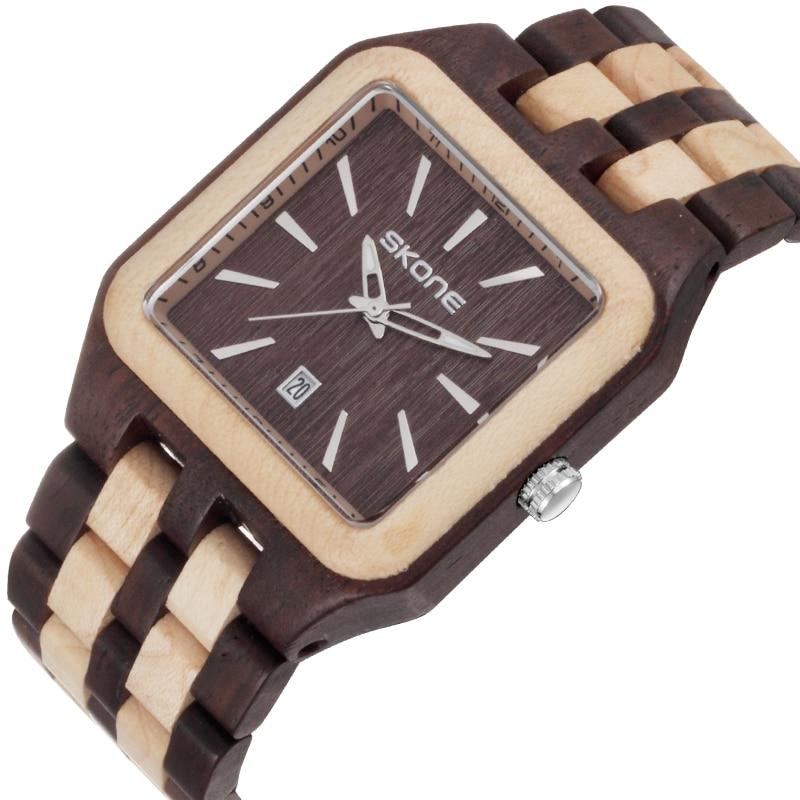 ФОТО Skone Brand Square Wood Watch Male Business Quartz Watches Luxury Brand Auto Date Wooden Men's Wristwatch reloj hombre