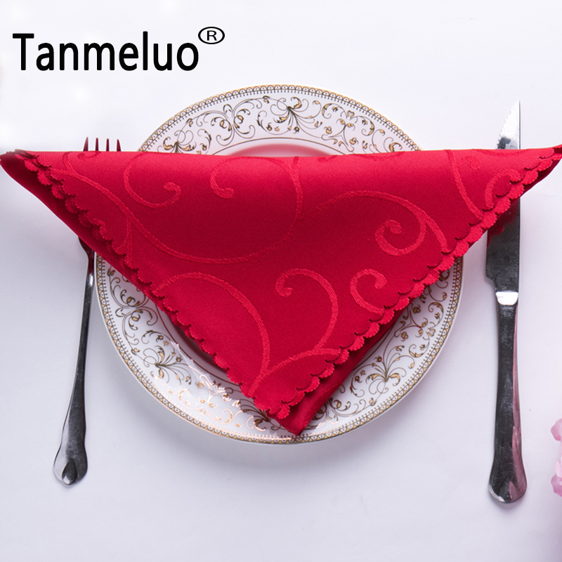 6PCS 48*48cm wedding table napkins cloth polyester handkerchief cloth diner wedding table decoration party event hotel home