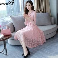 ATOFUL Women Dress Vintage High Quality Autumn Spring Lace Dress Crochet Korean Slim Casual Long Sleeve