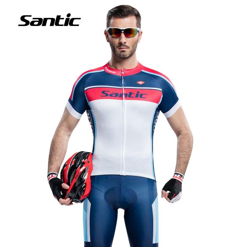 Santic Men Cycling Jersey sets  Anti-UV Racing Team Sports suits  MTB Road Bicycle Jersey Cycling Clothing  S-3XL WM6CT056B