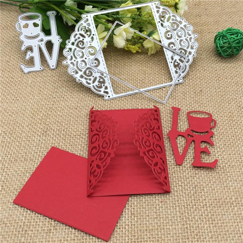 3pcs Love Greeting  METAL CUTTING DIES Stencil Scrapbooking Photo Album Card Paper Embossing Craft DIY craft