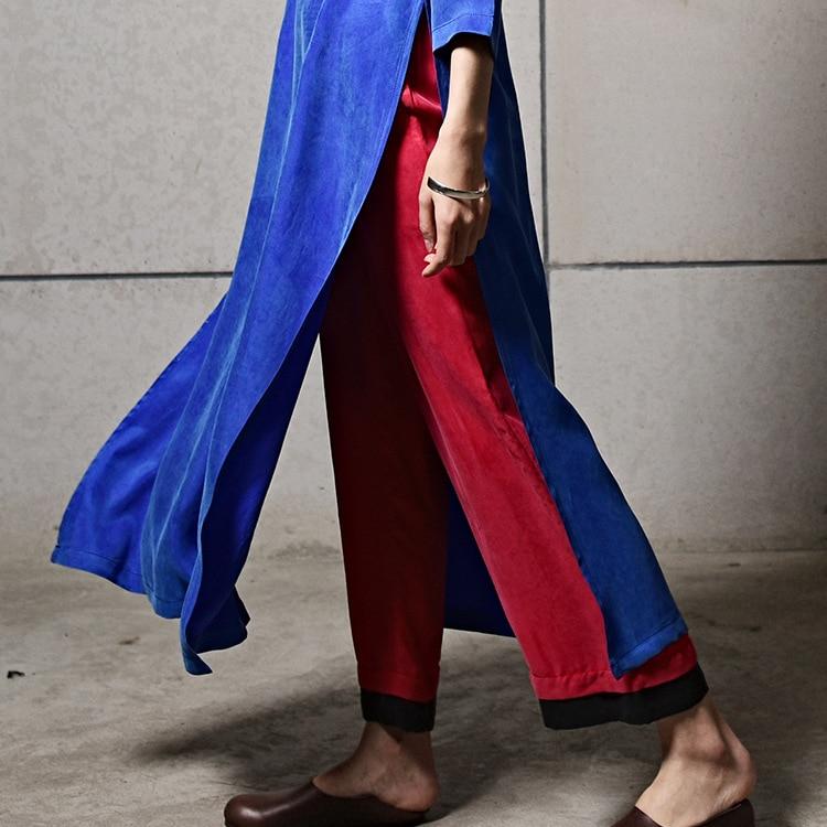 Original Rayón Pantalones Negro Primavera Verano Mujeres D761 Cómodo Rojo Y Noveno Diseño Lado Anchos Transpirable 8qxrt8p