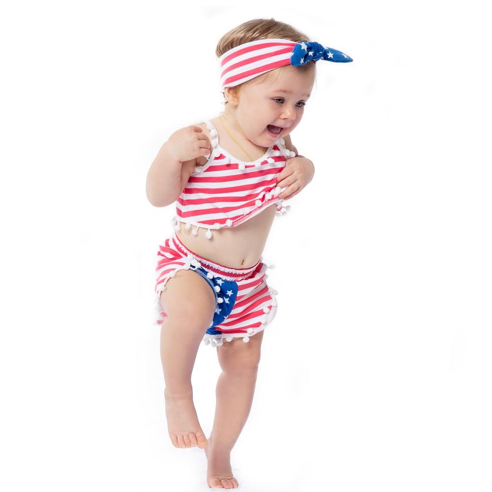 America Girls Clothes Sets 4. juli Rød / Blå Strips Børn Set Baby - Børnetøj - Foto 3