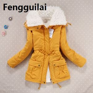 Image 4 - New  Winter Coat Women Slim Plus Size Outwear Medium  Long Wadded Jacket Thick Hooded Cotton Wadded Warm Cotton Parkas