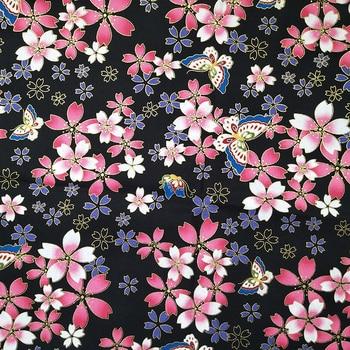 Tela de algodón con estampado de mariposa y flores hermosas, tela de retazos, Material de costura, ropa de mujer para vestido/camiseta Diy